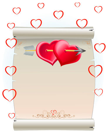 hearts and package Illustration