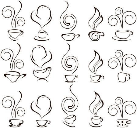 sopa: coofee taza de iconos Vectores