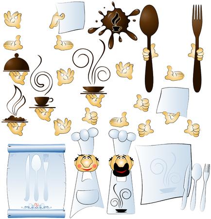 designer cook and hands constituent for restaurant menu