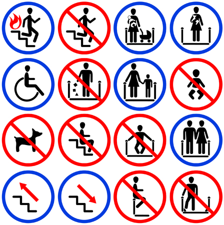 warning graphic: Icons for escalators and stairs in the shop