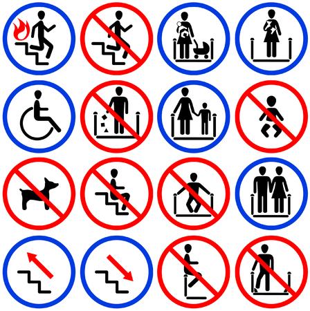 Iconen voor roltrappen en trappen in de winkel