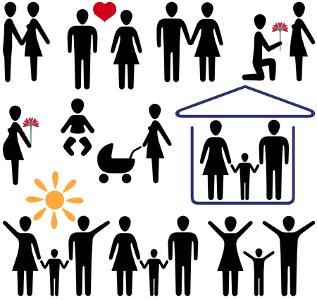 icons for the Internet and magazines on the theme of love and family