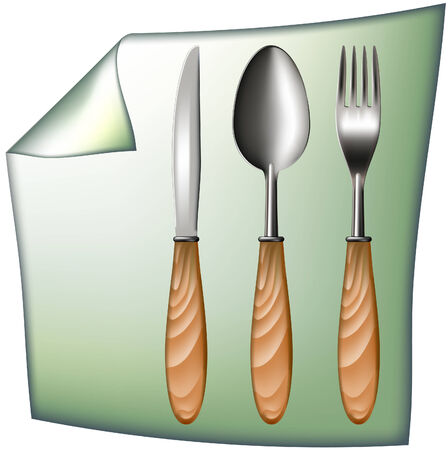 spoon fork knife with wooden handle Ilustracja
