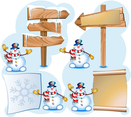 snowman and signpost Stock Vector - 5431443