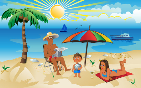 a family on vacation Vector