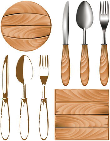 spoon, fork, knife and wooden forms for the interior. Vector