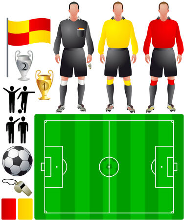 football referee: set of icons for European football