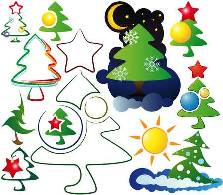 icons, and logos Christmas trees