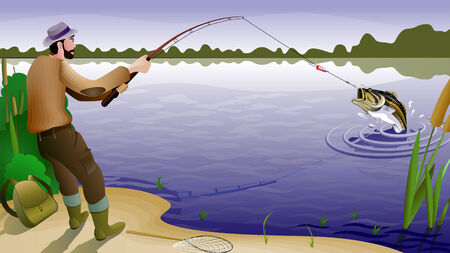recreational fishermen: peces y pescador Vectores