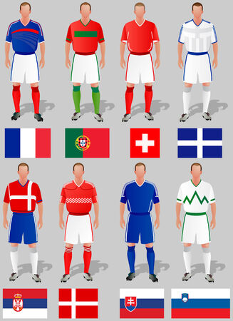 the national team: Teams around the world, the first group of commands. Illustration
