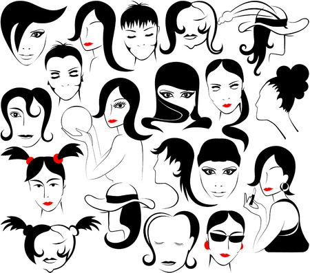 cartoon hairdresser: feminine face