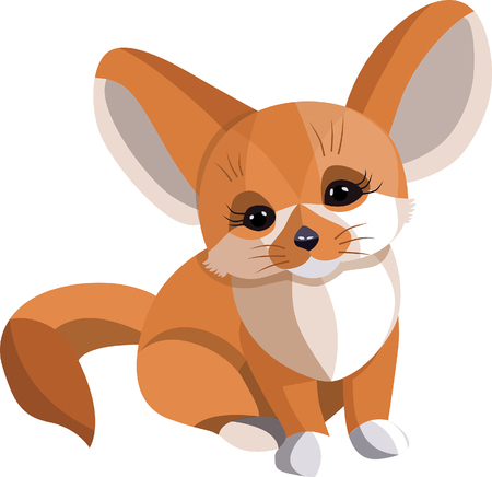 Vulpes zerda Fennecus fox vector illustration