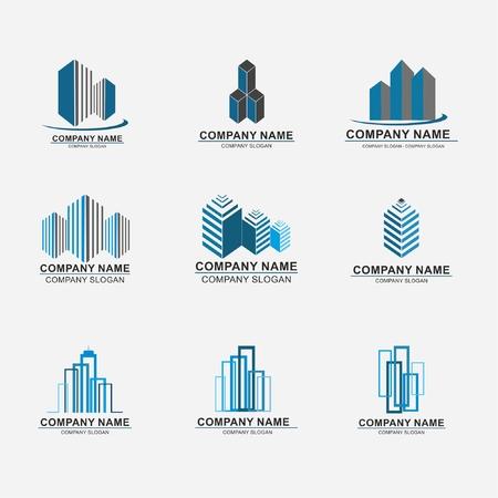 Set van onroerend goed bedrijf ontwerp abstracte constructie Stock Illustratie