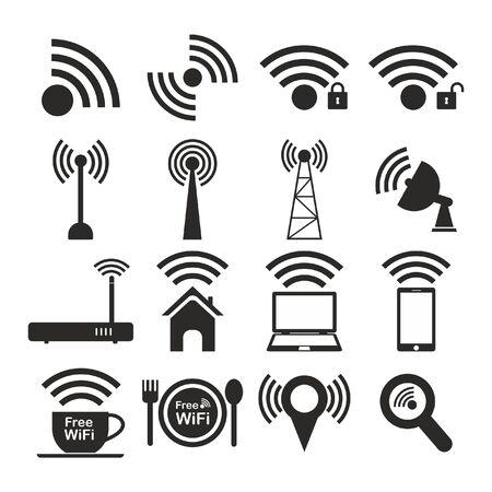wifi access: Set di diversi wireless e wifi icone nero di vettore per comunicare tramite onde radio accesso remoto