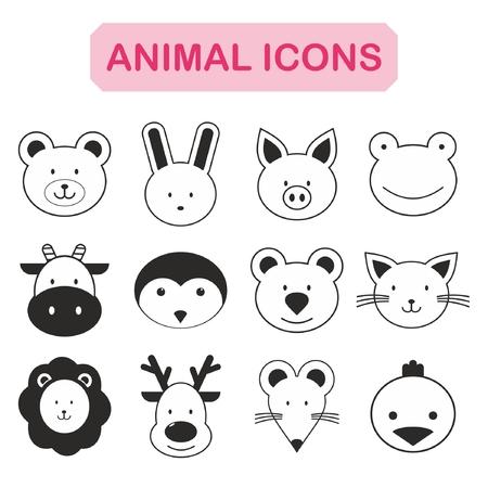 pajaro caricatura: Conjunto de icono de animales Vectores