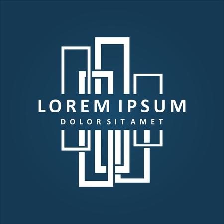 La construcción de diseño del logotipo. Diseño de logotipo de la empresa inmobiliaria, abstracta diseño del logotipo de la construcción. Diseño del logotipo del edificio