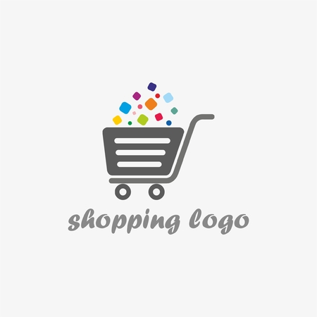 e store: Shopping logo. Shopping cart logo. Online shop logo Illustration