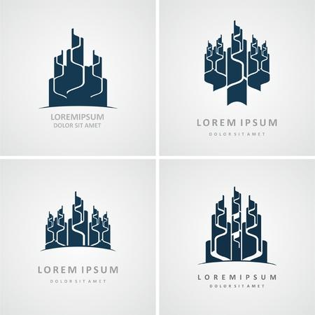 Set of Building logo design. Real estate company logo design, abstract construction logo design. Building logo design
