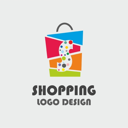 Abstract letter S with colourful bubbles on shopping bag. Abstract shopping logo. Online shop logo