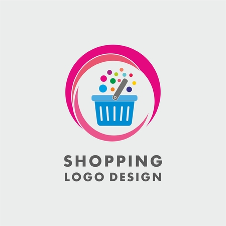 Abstract shopping basket logo with colourful bubbles. Abstract shopping logo.Online shop logo