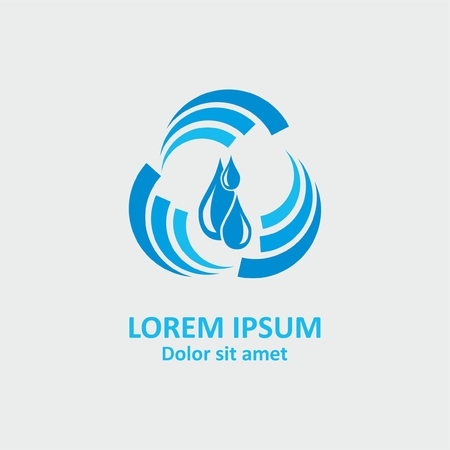 Abstract water logo design. Abstract spiral with water drop Vectores