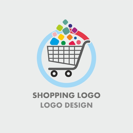Abstract shopping cart logo with colorful bubbles. Abstract shopping logo.Online shop logo.