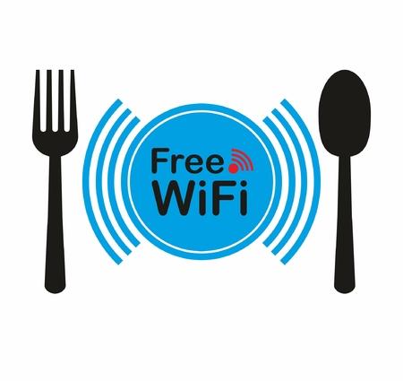 Free wifi zone, icon concept for restaurant 矢量图像