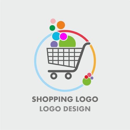 Abstracte winkelwagentje logo met kleurrijke bellen. Abstract winkelen logo.Online winkel logo Logo