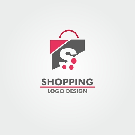 Abstract letter S on shopping bag. Abstract shopping logo. Online shop logo.