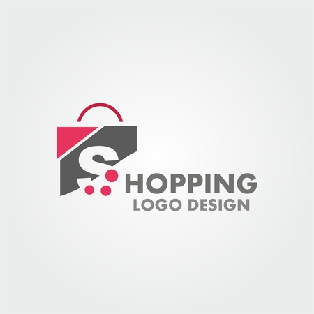 simple store: Abstract letter S on shopping bag. Abstract shopping logo. Online shop logo.