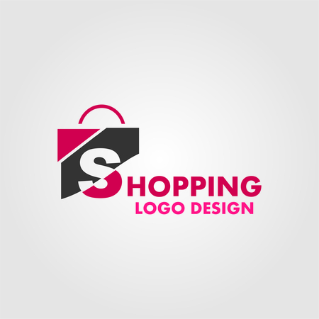 e commerce: Abstract letter S on shopping bag. Abstract shopping logo. Online shop logo.