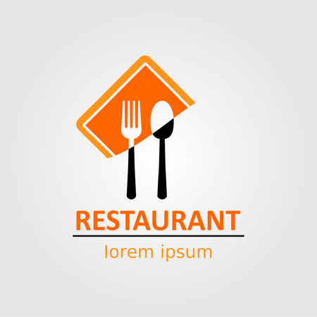 Restaurant logo with spoon and fork on dish. Vectores