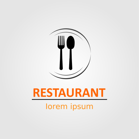 Restaurant logo with spoon and fork on dish. 矢量图像