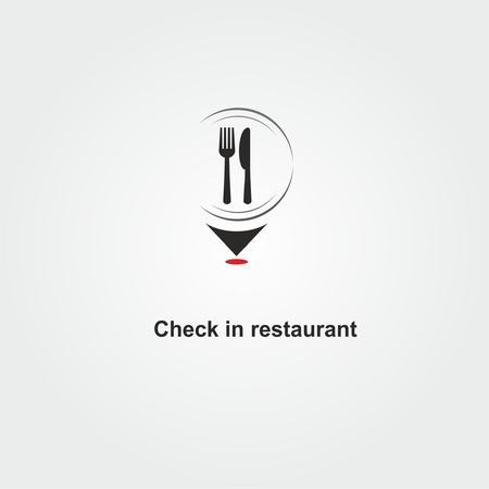 Check in Restaurant logo with spoon, fork and dish on map Vectores
