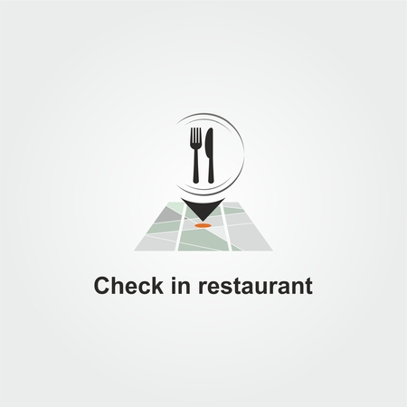 Check in Restaurant logo with spoon, fork and dish on map 矢量图像