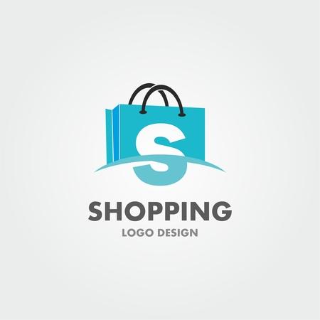 Lettera astratta S sulla borsa della spesa. Logo commerciale astratto. Logo del negozio online.