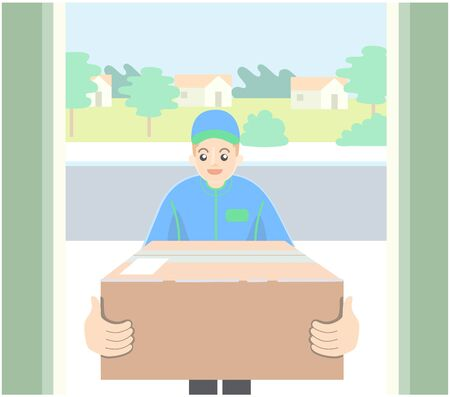 delivery man holding package on front door.vector.illustration.