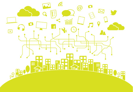 smart home: Social media city Illustration