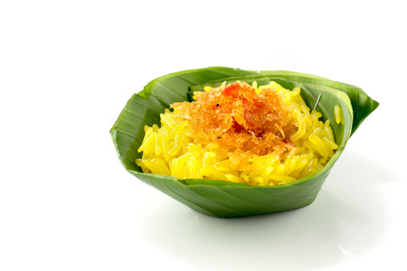 shred: shrimp and shred coconut on  sticky rice, Thai style sweet dessert
