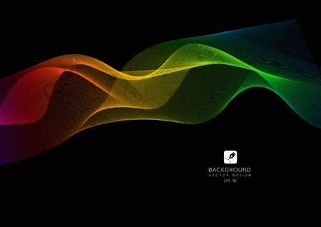 Abstract lines on a black background. Line art. Vector illustration. colorful wave with lines created using blend tool. Curved wavy line,smooth stripe.Design element.
