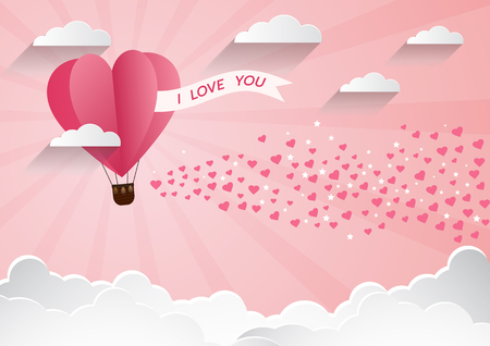 Illustration of love and valentine day,Origami made hot air balloon flying over cloud with heart float on the sky.paper art style.