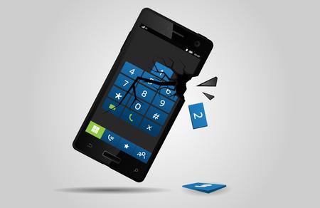 Broken mobile phone, vector Stock Vector - 77678161