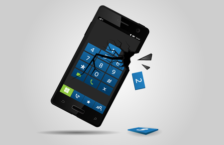 Broken mobile phone, vector Illustration
