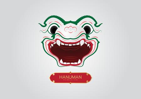 Thai Art Ramayana hanuman-monkey styethai vector laithai 일러스트