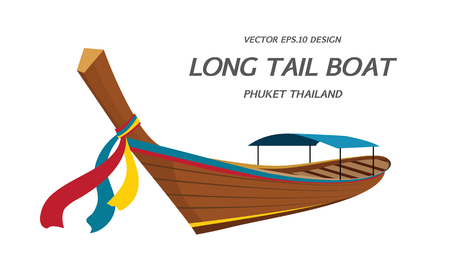 Long tail boat, Thailand vector illustration Иллюстрация