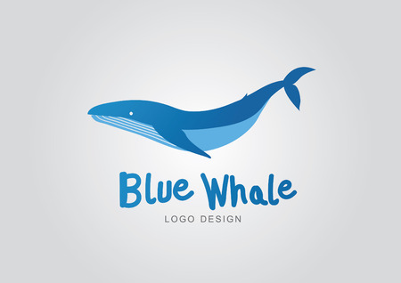 Blue whale logo design vector Illustration
