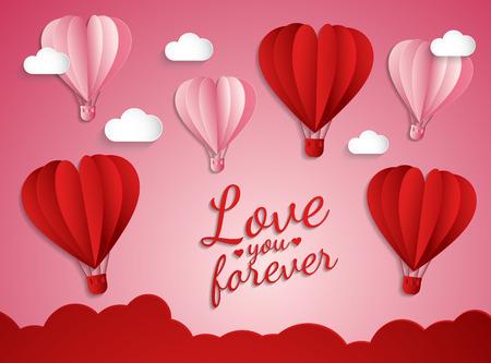 Feliz día de San Valentín, estilo de corte de papel, globos volando y decoraciones de corazones Foto de archivo - 78660698