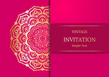 gold textured background: Elegant Save The Date card design. Vintage floral invitation card template. Luxury swirl mandala greeting card, gold, pink Illustration