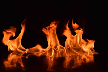 Abstract Fire flames isolated on black background