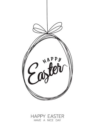 Vector Happy Easter black typography calligraphy lettering with black scribble egg frame isolated on white background